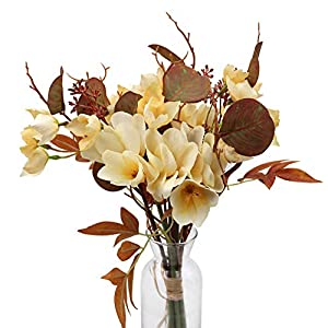 LSME Artificial Plumeria Frangipani Flowers with Stems Fall Bouquet Real Touch for Arrangements Wedding Bride Bouquet Living Room Party Home Thanksgiving Decoration