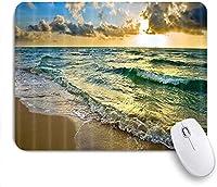 """ゲーミングマウスパッド、日の出の海面線に沿った海のビーチと波、9.5"""" x7.9""""ノートブック用滑り止めラバーバッキングマウスパッドコンピューターマウスマット"""
