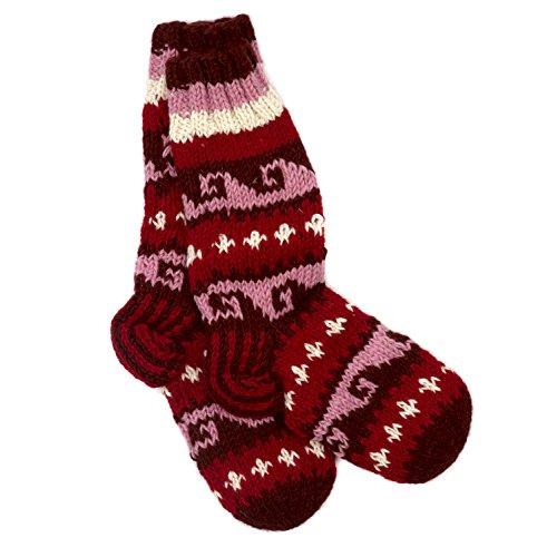 Funky Chaussettes d'hiver en laine tricotées à la main Rouge/rose - Rouge - Large