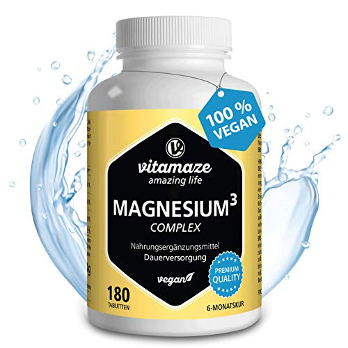 Vitamaze® Magnésium Complexe 350 mg de Magnésium Élémentaire 180 Comprimés Vegan pour 6 Mois, Magnesium-Citrate-Carbonate-Oxyde, Qualité Allemande, sans Additifs Inutiles