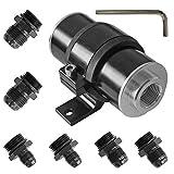 50mm Air Filter 100 Micron Cleanable Inline Fuel Filter Mount Aluminum Inline Bracket Universal Black High Flow Turbo 6AN 8AN 10AN Adapter