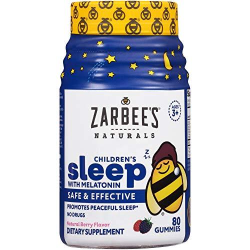 Zarbee's Naturals Children's Sleep with Melatonin Gummy Supplement, Berry Gummies 80 Count (Pack of 1)