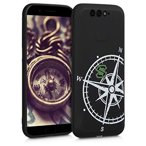 kwmobile Xiaomi Black Shark Hülle - Handyhülle für Xiaomi Black Shark - Handy Case in Kompass Vintage Design Weiß Schwarz