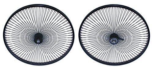 "Lowrider Black 26"" 144 Spoke Wheel Set. Front and Back Coaster Wheel"