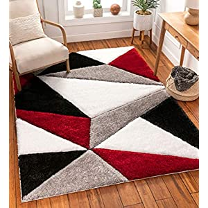 "Well Woven Walker Red Triangle Boxes Thick Soft Plush 3D Textured Shag Area Rug 4×6 (3'11"" x 5'3″)"