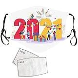 Zumint Mundschutz Happy new Year 2021 Masken Mundschutz Waschbar, 1 Stück Weihnachten Stoffmaske Baumwolle 2021 Mundschutz Golden Verstellbarer Mundbedeckung Atmungsaktiv Halstuch Schals