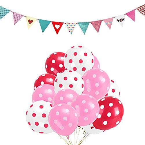 Hemore - Globos de Lunares (100 Unidades), Color Rosa, Blanco, Rojo, de látex, con 1 Bandera de Bandera de Bandera para Festival, Navidad, Boda, cumpleaños, Fiesta, decoración (Rosa)