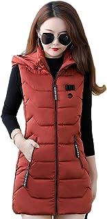 QitunC Women Winter Gilet Long Hooded Quilted Vest Hooded Zip Up Jacket Coat Bodywarmer