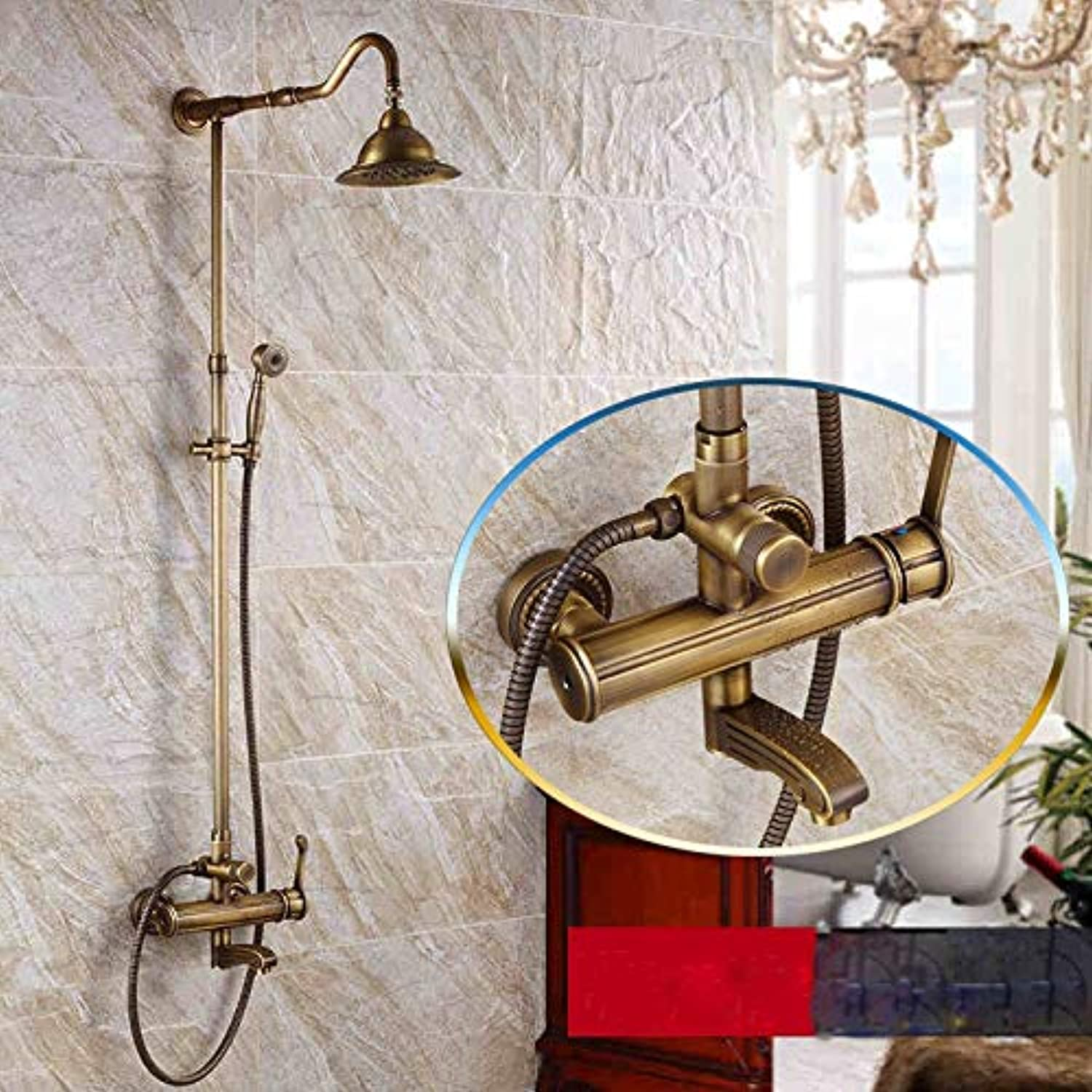 Antique Brass Single Handle Rainfall 8  Shower Head Bathroom Shower Mixer Set Wall Mounted with Hand Shower Tub Spout