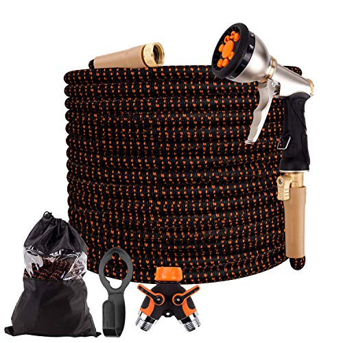 """50ft Expandable Garden Hose, Water Hose, Durable Hose with 9-Way Spray Nozzle, 4-Layers Latex, 2-Way Splitter, 3/4"""" Solid Brass Connectors, Easy Storage Flexible Lightweight Hose for Washing Watering"""