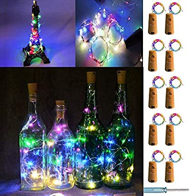 UNIQLED 10 Packs 20 LED Wine Bottle Cork Starry String Lights Battery Operated Fairy Night Wire Lights for DIY Wedding Decor Party Christmas Holiday Decoration