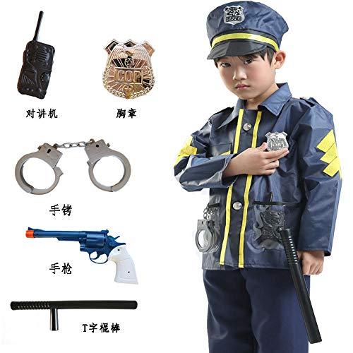 DEXIAOBANG New Police Abbigliamento per Bambini Scuola Materna Piccola Polizia Stradale Vestito Cosplay Fase Gioco di Ruolo Uniforme per Bambini @ Giacca Polizia + Giocattoli Codice-s