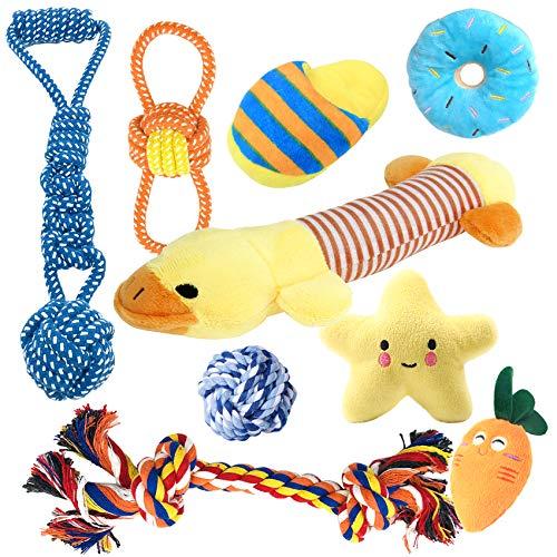 EONAZE Hundespielzeug Quitschend Welpen Starterset, Welpenspielzeug Hunde Seil Spielzeug Set, Unzerstörbar Welpen Zahnen Spielzeug für Welpen Kleine und Mittel Hunde