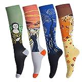 Calcetines de compresión para hombres y mujeres (4 pares) antideslizantes de tubo largo, ideal para correr, enfermera, viajes, vuelo, embarazo 15-25 mmHg