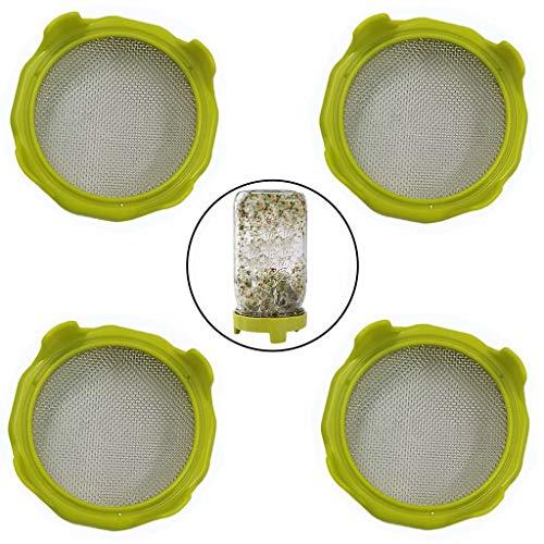 Sprout Deksels met RVS Scherm voor Brede Mond Mason Jars, Sprouting Deksels met Stand en Water Trays voor Grow Bean Sprouts, Quinoa, Broccoli, Alfalfa,etc