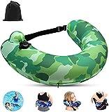 YQZ Cinturón de natación portátil para niños, Adultos, Almohada Inflable para Viajes en avión, Dispositivo de flotación Kickboards,Verde
