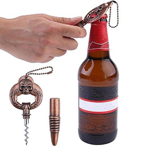 Sacacorchos 2 en 1 de acero inoxidable con cabeza de calavera, sacacorchos de vino, abrebotellas de cerveza, regalo perfecto para vino/cerveza