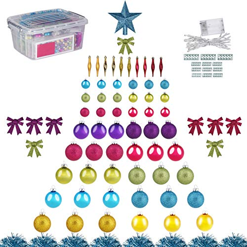 123ct Christmas Ball Ornaments with Tree Topper, Tinsel, Bows and String Lights, Glass Xmas Balls for Christmas Tree Decoration (Multicolor)