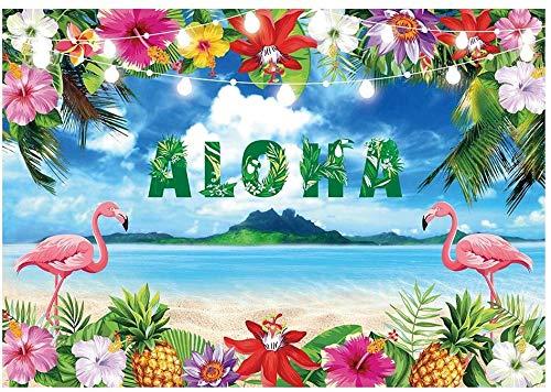 AllEnjoy Verano Aloha Luau - Fondo de fotografía tropical hawaiana para fiesta de playa o playa con flores marinas de 7 x 5 pies, diseño de flamencos florales para cumpleaños, baby shower