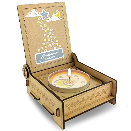 TROSTLICHT Sternenkind personalisiert, Gratis e-Book, Sternenkind Kerze mit Spruch in Holz-Box, Sternenkinder Erinnerung, statt Trauerkarte Baby Trauer