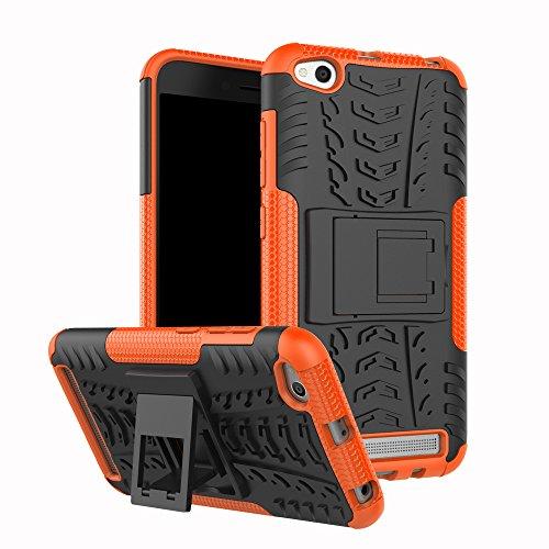 XINYUNEW Funda Xiaomi Redmi 5A, 360 Grados Protective+Pantalla de Vidrio Templado Caso Carcasa Case Cover Skin móviles telefonía Carcasas Fundas para Xiaomi Redmi 5A-Naranja