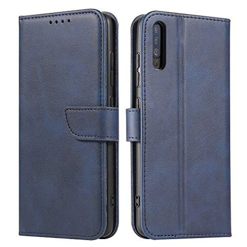 Funda de Cuero Compatible con Samsung Galaxy A10 Azul con Tapa Libro PU Case Cover Completa Protectora Funda para Teléfono Piel Tarjetero Modelo