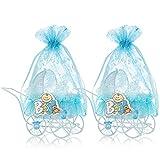 QILICZ Bomboneras para bebé, bautizo, cochecito con bolsa de organza azul, 12 unidades, caja de caramelos para bautizo, baby shower, recién nacidos, fiestas de bebé, cumpleaños