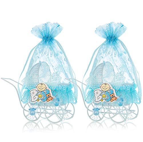 QILICZ Gastgeschenke Baby Taufe Kinderwagen mit blau Organzabeutel, 12 stück Junge Süßigkeit Schachtel Taufe Baby Candy Box für schower Babydusche Neugeborenen Baby-Partys Geburtstag