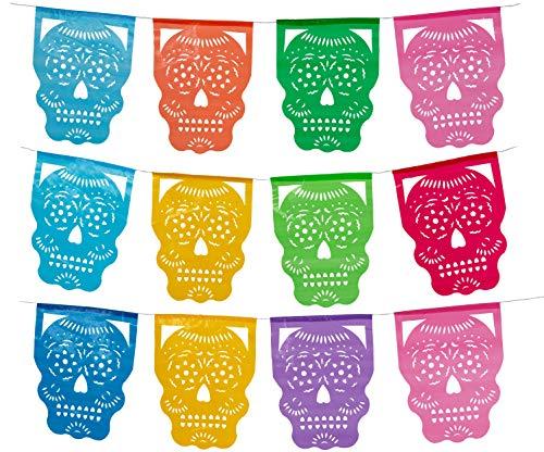 Day of The Dead Plastic Papel Picado I Cabezita Calavera I Multi-Colors 12 Plastic Panels I Dia De Los Muertos Plastic Papel Picado Banner I Over 12 Feet Long Hanging