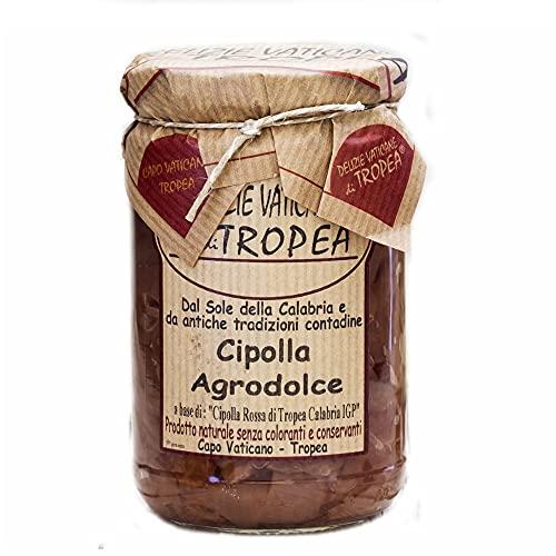 Cipolle Agrodolce di Tropea IGP - Prodotti Calabresi Artigianali 100% Made in Italy - Cipolla Dolce, Gusto Unico, Elevata Digeribilità - Delizie Vaticane di Tropea - 280g