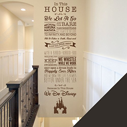 Sticker mural avec inscriptions en anglais tirées de films de Disney pour chambre d'enfant ou salle de jeux - La Fée Clochette, Toy Story, la Petite Sirène, Le Roi Lion, noir, Large (1520 x 435mm)
