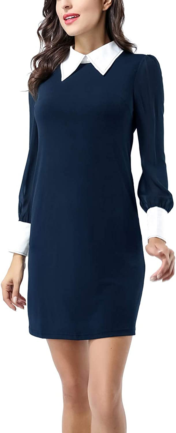 Avtosrno Women Peter pan Collar Long Sleeve Party Work Pencil Casual TShirt Dress