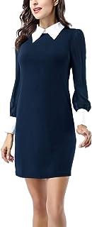 Avtosrno Women Peter pan Collar Long Sleeve Party Work Pencil Casual T-Shirt Dress