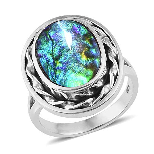 TJC Ammolite Solitaire 925 Sterling Silver Ring for Women Size M, 3.63 Ct