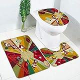 HUIO Alfombras de baño Antideslizante del Asiento de tocador Cubierta de alfombras alfombras de baño Juego de Cortinas - B Navidad de Santa Claus Adecuado para baño (Color : Red, Size : One Size)