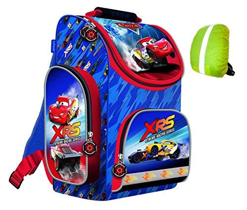 Disney Cars McQueen Schulranzen ergonomischer Ranzen Tornister Schulrucksack Schultasche Junge inkl. Regenschutz