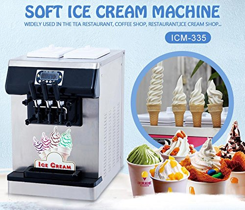 Kolice Commercial ETL Certificate Tabletop countertop 3 Flavors(2+1 Mixed) Soft Serve ice Cream Machine, ice Cream Maker