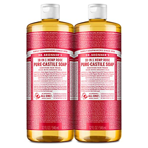 Dr. Bronner's - Pure-Castile Liquid Soap (Rose, 32 ounce, 2-Pack) - Made with Organic Oils, 18-in-1 Uses: Face, Body, Hair, Laundry, Pets and Dishes, Concentrated, Vegan, Non-GMO