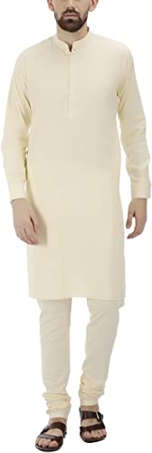 Royal Tag 7 Hommes's Cotton Kurta Pyjama Set 44 Beige