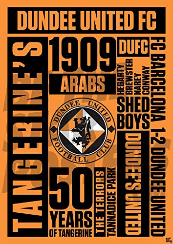 Dundee United FC A3 Word Football Poster/Print/Wall Art - Officially Licensed Product - Available in Sizes A3 & A2 (A3)
