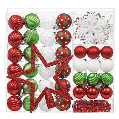 Valery Madelyn Weihnachtskugeln 60 TLG 4-20cm Kunststoff Christbaumkugeln Weihnachtsdeko Weihnachtsbaumschmuck mit Weihnachtsbaumspitze Perlenkette und Aufhänger Klassische Serie Thema Rot Grün Weiß
