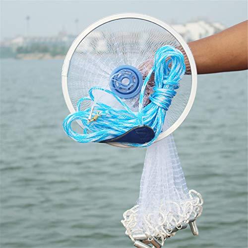 BESSKY Angeln Wurfnetz, Magic Fischernetz Finefish Aluminium Ring American Catch Fish Network Angelnetz Cast Net Wurfnetz mit 2.4M/3M Durchmesser (300 cm)