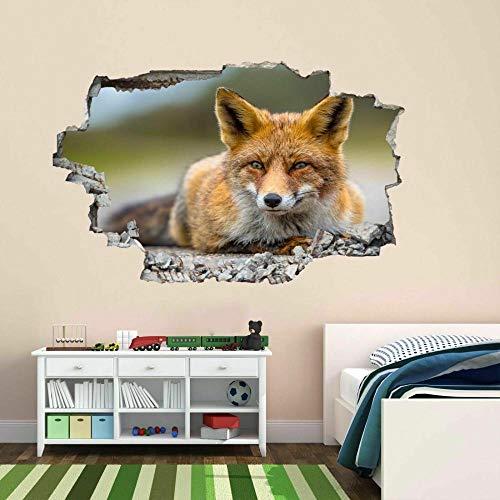 DDSYJ Adesivo da parete 3d Fox Animal Wall Sticker Mural Decal Kids Bedroom Home Office Decor