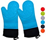 Silicone Oven Mitt, Advanced Heat Resistant Pot Holders, Flexible Oven Gloves, Long