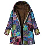 TOPKEAL Jacke Warme Mantel Damen Herbst Winter Sweatshirt Blumendruck mit Kapuze Kapuzenjacke Hoodie Taschen Pullover Übergroße Outwear Coats Mode Tops (Blau-4, M)