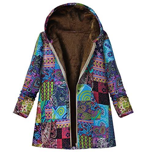KPPONG Winterjacke Damen Vintage Blumendruck Jacke Teddyfutter Kapuze MantelWarm Übergangsjacke Freizeitjacke Parka