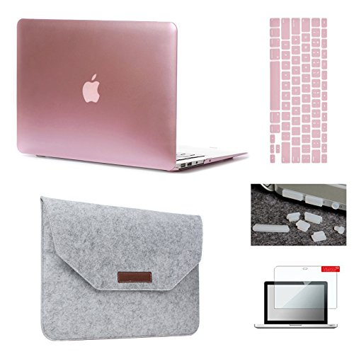 Keyrun MacBook Air 13 Case & Sleeve[5 in 1 Bundle], Plastic Hardshell Case Bundle with Felt Sleeve, Screen Protector, Keyboard Cover & Dust Plug for MacBook Air 13-inch A1369/A1466 - Rose Gold