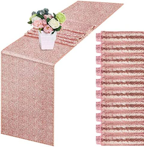 10 Pack Sequin Table Runner Rose Gold 12 X 108 Inch Glitter Rose Gold Table Runner Dining Table product image