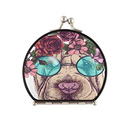 Espejo de maquillaje de viaje pequeño Hippie Sharpei Guirnalda de rosas Gafas de sol redondas Espejo de bolsillo compacto de doble cara con aumento de 2 X 1x Espejo de maquillaje portátil de dos cara