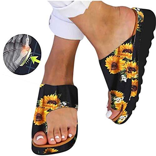 LOVEXIN Sandalias de Mujer Zapatillas de Viaje de Playa de Verano Zapatos Zapatillas de Plataforma Sandalias de Mujer para Zapatos Antideslizantes de Corrección de Hueso de Dedo Gordo,6,42EU